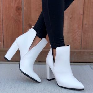White Ankle High Block Chunky Heel Booties